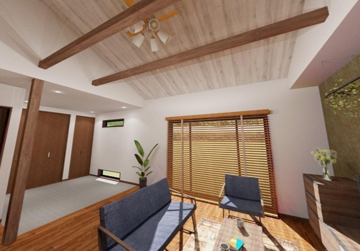 「30坪 平屋 開放感抜群の勾配天井が魅力的な間取り」バーチャルモデルハウス